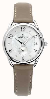 Michel Herbelin Equinoxe | pulseira de couro marrom feminino | madrepérola 18397/29GR