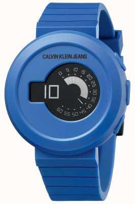 Calvin Klein Digirock masculino | pulseira de silicone azul | mostrador preto KAN51YV1