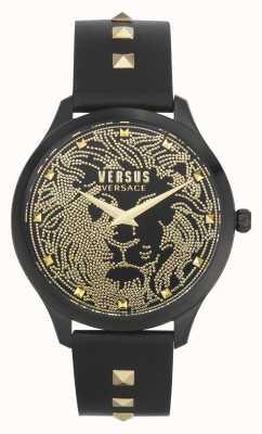 Versus Versace | mulheres | domus | pulseira de couro preta | mostrador preto | VSPVQ0520