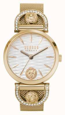 Versus Versace Iseo feminino | pulseira em malha de ouro rosa | mostrador branco VSPVP0720