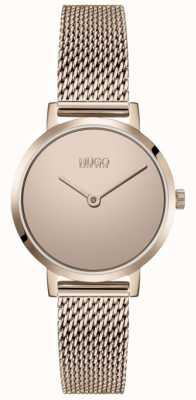 HUGO #cherish | pulseira em malha pvd em ouro rosa | mostrador de ouro 1540085