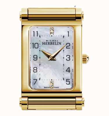 Michel Herbelin Antarès   apenas mostrador de relógio banhado a ouro   mostrador retângulo H.17048/P79