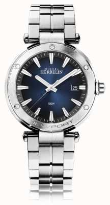Michel Herbelin Newport masculino   pulseira de aço inoxidável   mostrador azul 12288/B15