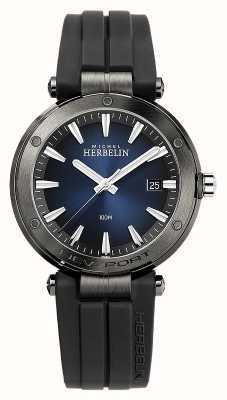 Michel Herbelin Newport masculino   pulseira de borracha preta   mostrador azul 12288/G15CA