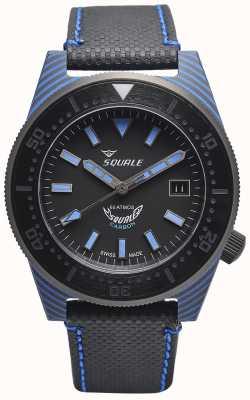 Squale Estilo de carbono | mostrador preto / azul | pulseira de microfibra preta - costura azul T183BL-CINT183BL