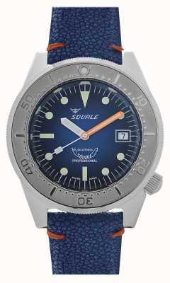 Squale 1521 blue ray | mostrador azul | pulseira de couro azul 1521PROFSS-CIN20RZBL