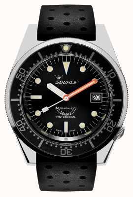 Squale 1521 clássico | pulseira preta tropical | mostrador preto 1521CL-CINTRB20