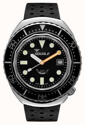 Squale 2002a pontos redondos pretos | pulseira preta tropical | mostrador preto B083401-CINTRB22