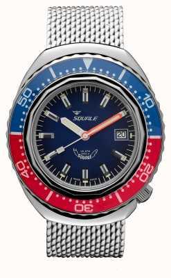 Squale 2002a azul-vermelho | pulseira de malha de aço | mostrador azul B083401-CINSS22