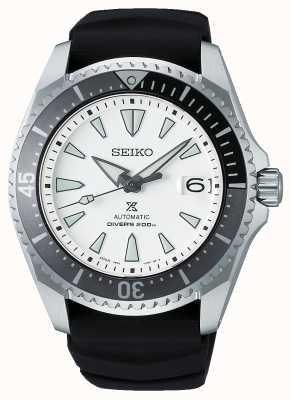 "Seiko Prospex ""shogun""   pulseira de silicone preta   mostrador branco SPB191J1"