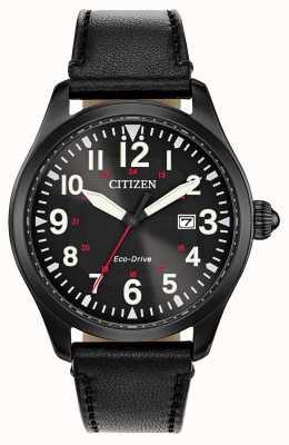 Citizen Unidade ecológica militar da guarnição masculina | pulseira de couro preta BM6835-15E