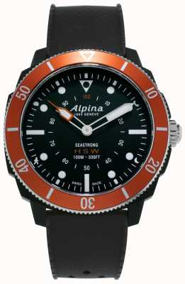 Alpina Seastrong | relógio inteligente horológico | pulseira de silicone preta | moldura laranja AL-282LBO4V6