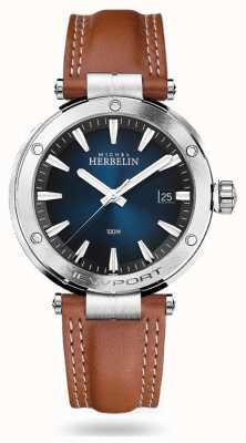 Michel Herbelin Newport   pulseira de couro marrom   mostrador azul 12288/15GON