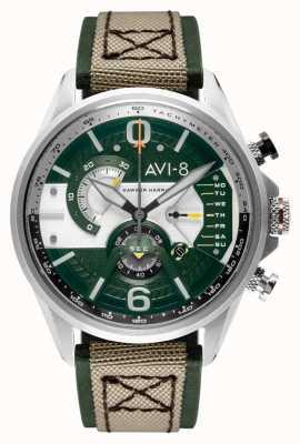 AVI-8 Hawker harrier ii | cronógrafo | mostrador verde | pulseira de couro bege nato verde AV-4056-02