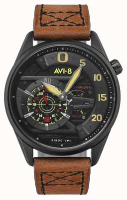 AVI-8 Hawker harrier ii - ás de espadas | automático | pulseira de couro marrom AV-4070-04