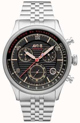 AVI-8 Flyboy lafayette | cronógrafo | mostrador preto | pulseira de aço inoxidável AV-4076-33
