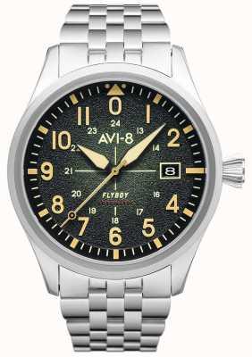 AVI-8 Flyboy | automático | mostrador verde | pulseira de aço inoxidável AV-4075-33
