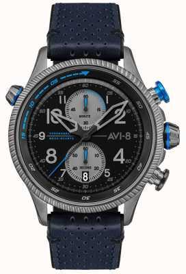 AVI-8 Hawker hunter | cronógrafo | mostrador preto | pulseira de couro azul AV-4080-02