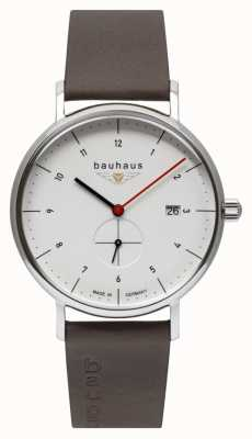 Bauhaus Pulseira italiana de couro marrom masculino | mostrador branco 2130-1
