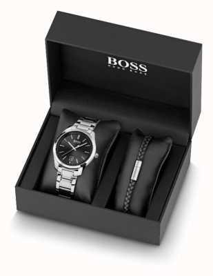 BOSS Conjunto de relógio masculino de aço inoxidável e pulseira de couro preto 1570084