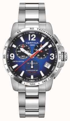 Certina | ds podium | cronômetro de voltas | pulseira de aço inoxidável | mostrador azul | C0344531104710