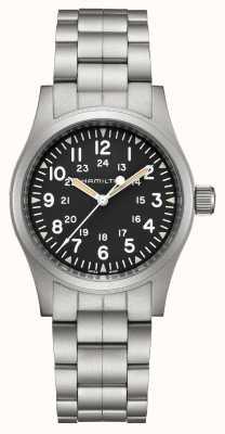 Hamilton Mecânico de campo caqui | pulseira de aço inoxidável | 38mm H69439131