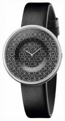 Calvin Klein   mulheres   mania   pulseira de couro preta   mostrador padrão ck preto   KAG231CX