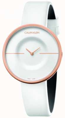 Calvin Klein | mulheres | mania | pulseira de couro branco | caixa em ouro rosa | KAG236L2