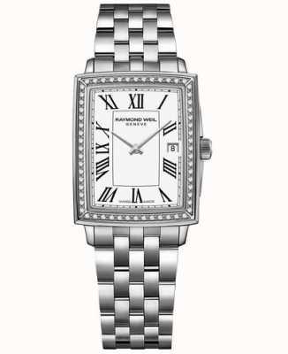 Raymond Weil Toccata | diamante | mostrador branco | pulseira de aço inoxidável 5925-STS-00300