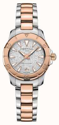 Certina Ação Ds | pulseira de aço bicolor | mostrador prateado C0329512203100
