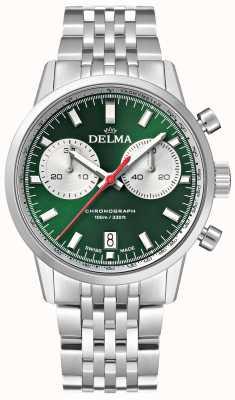 Delma Cronógrafo continental | pulseira de aço inoxidável | mostrador verde 41701.704.6.141