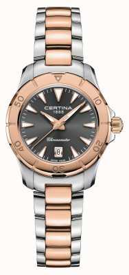 Certina Ação Ds | pulseira de aço bicolor | mostrador cinza | cosc C0329512208100