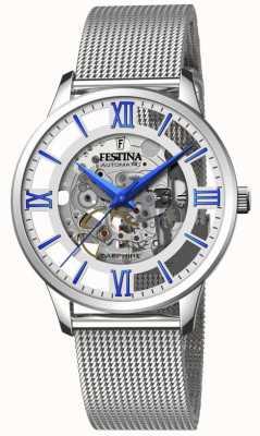 Festina Esqueleto automático masculino | pulseira em malha de aço | mostrador prata / azul F20534/1