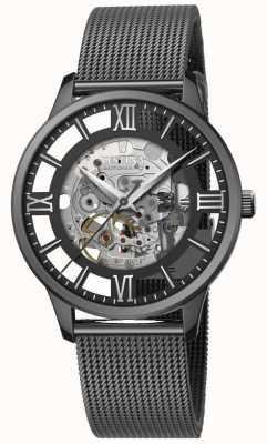 Festina Esqueleto automático masculino   pulseira de malha preta   mostrador preto F20535/1