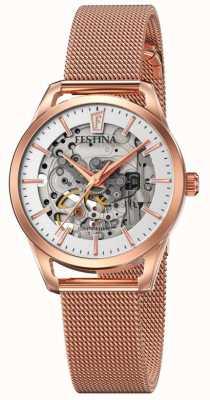 Festina Esqueleto automático feminino   pulseira de malha de ouro rosa F20539/1