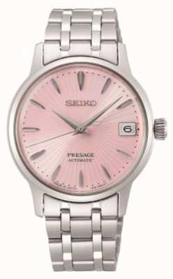 Seiko Presage   mulheres   pulseira de aço inoxidável   mostrador rosa SRP839J1