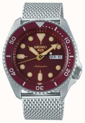 Seiko 5 esportes | homens | pulseira em malha de aço | mostrador vermelho | automático | SRPD69K1