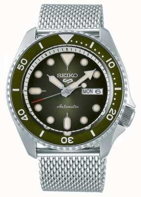 Seiko 5 esportes | homens | pulseira em malha de aço | mostrador verde | SRPD75K1