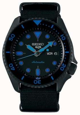 Seiko 5 esportes | homens | pulseira de nylon preta | mostrador preto / azul SRPD81K1