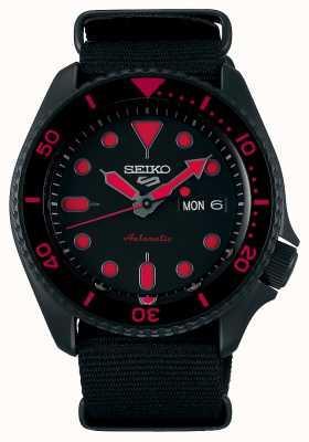 Seiko 5 esportes | homens | pulseira de nylon preta | mostrador preto / vermelho SRPD83K1