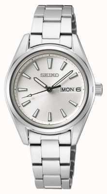 Seiko | mulheres | quartzo | pulseira de aço inoxidável | mostrador prateado SUR349P1