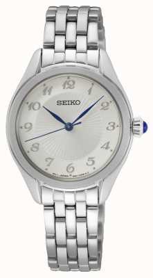 Seiko Quartzo feminino   pulseira de aço inoxidável   mostrador prateado SUR379P1