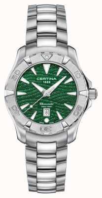 Certina Mostrador de ação feminino verde cintilante C0322511109109