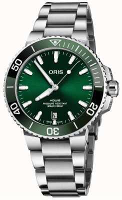 ORIS Pulseira de aço inoxidável com mostrador verde de 41,5 mm data Aquis 01 733 7766 4157-07 8 22 05PEB
