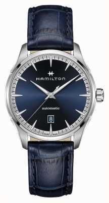 Hamilton Jazzmaster | auto | pulseira de couro azul | mostrador azul H32475640
