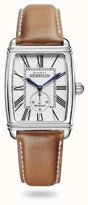 Michel Herbelin Art déco   automático   pulseira de couro marrom mostrador prata 1938/08GO