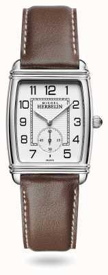 Michel Herbelin Mulheres | art déco | mostrador prateado | pulseira de couro marrom 10638/22MA