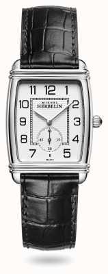 Michel Herbelin Mulheres | art déco | mostrador prateado | pulseira de couro preta 10638/22