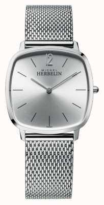 Michel Herbelin Cidade   mostrador prateado   pulseira de malha de aço inoxidável 16905/11B