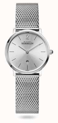 Michel Herbelin Cidade | mostrador prateado | pulseira de malha de aço inoxidável 16915/11B
